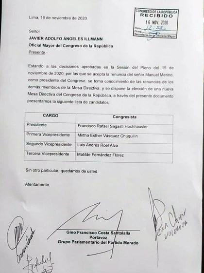 La lista encabezada por Francisco Sagasti, del Partido Morada, fue confirmada por el Congreso y sometida a votación