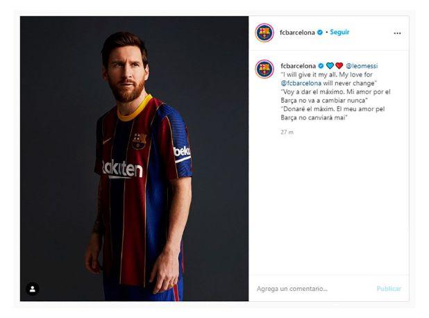 Mensaje del Barcelona post anuncio de Messi