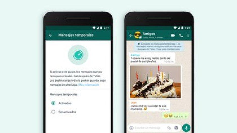Los mensajes temporales en WhatsApp desaparecen después de una semana de haber sido enviados