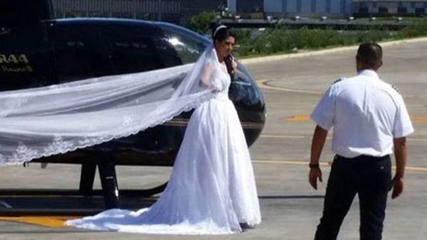 Rosemere de Nascimento Silva, antes de subir al helicóptero que la trasladaría a su boda