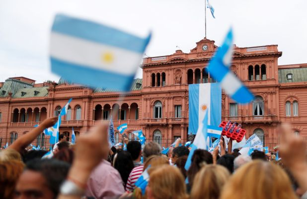 Supporters of Argentina's outgoing president Mauricio Macri gather for a rally outside Casa Rosada presidential palace in Buenos Aires, Argentina, December 7, 2019. REUTERS/Agustin Marcarian