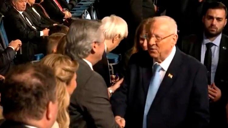 Alberto Fernández junto al presidente de Israel Reuven Rivlin