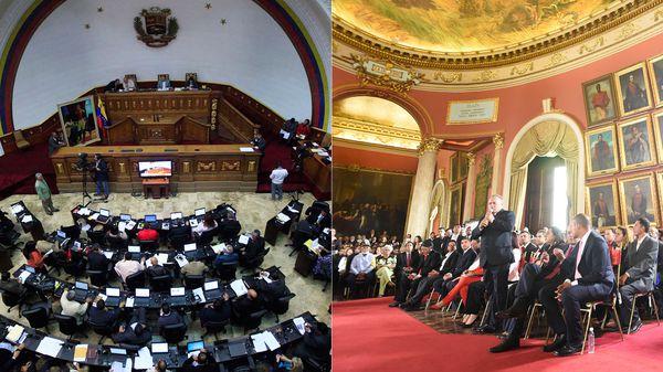 La Asamblea Nacional, en el hemiciclo, y la Constituyente, en el Salón Elíptico