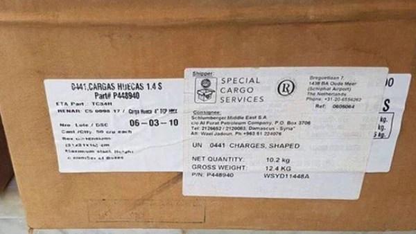 Etiquetas de las cajas que contienen los explosivos argentinos