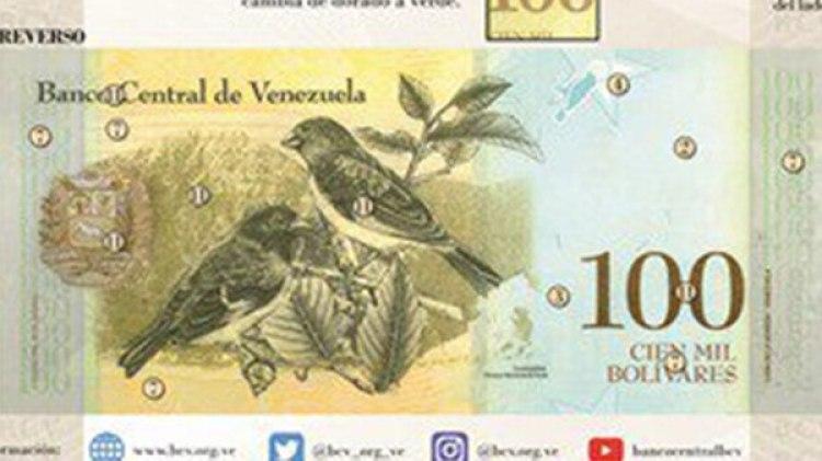El nuevo billete de 100.000 bolívares