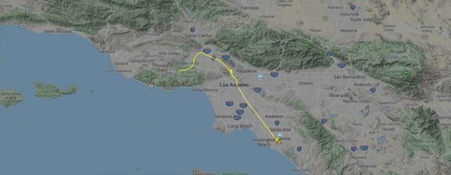 El mapa de la ruta del vuelo que quedó trunco