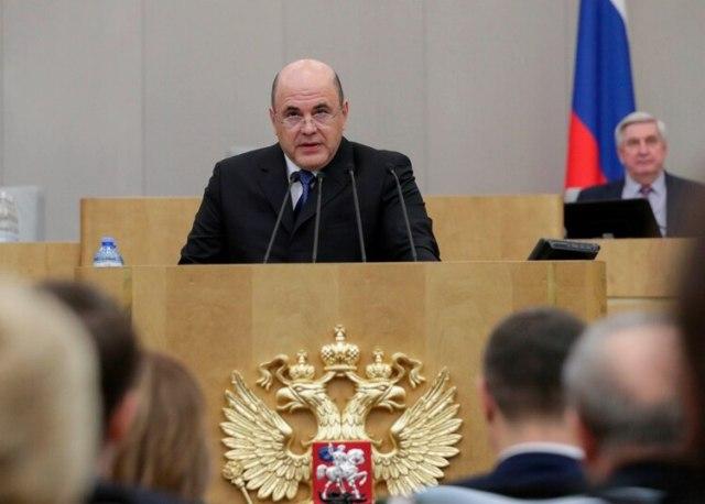 El flamante Primer Ministro de Rusia, Mikhail Mishustin, hablando frente a la Duma (AP)