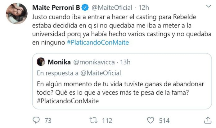 La actriz confesó que estuvo a punto de rendirse en su carrera de actuación, pero que fue el casting de RBD cuando decidió darse otra oportunidad (Foto: Twitter Maite Perroni)