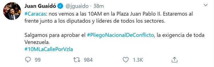 El mensaje de Juan Guaidó en Twitter