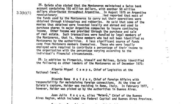 """""""Los Montoneros mantenían una cuenta bancaria en Suiza con USD 150 millones, más otros USD 50 millones distribuidos en la Argentina"""", informó Quieto según la CIA"""