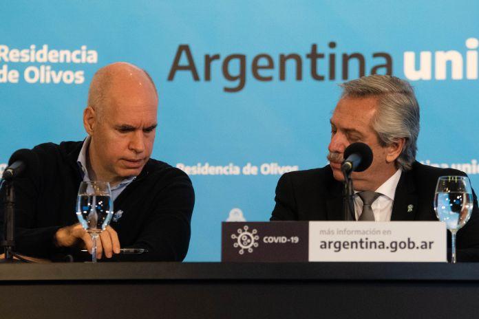 Conferencia prensa Alberto Fernandez - Axel Kicilof - Horacio Larreta - COVID 19 - Coronavirus - Cuarentena Obligatoria - Olivos - Buenos Aires, Argentina