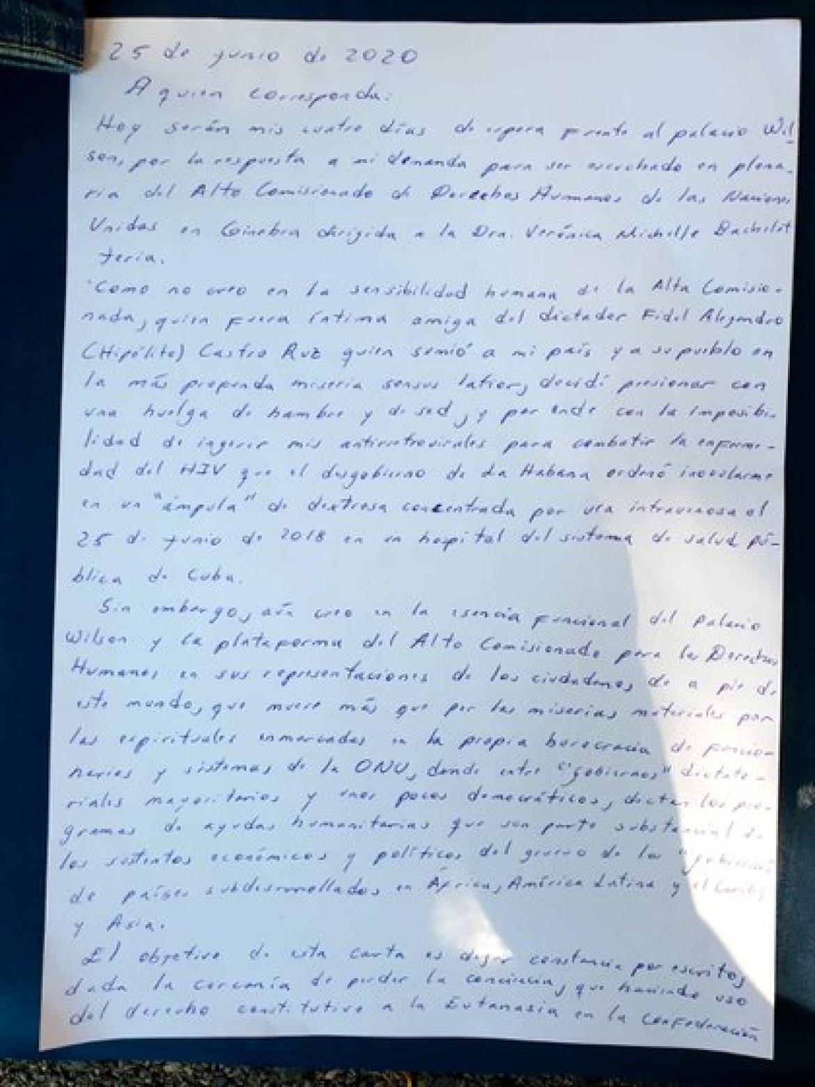 La carta de Ariel Ruiz Urquiola