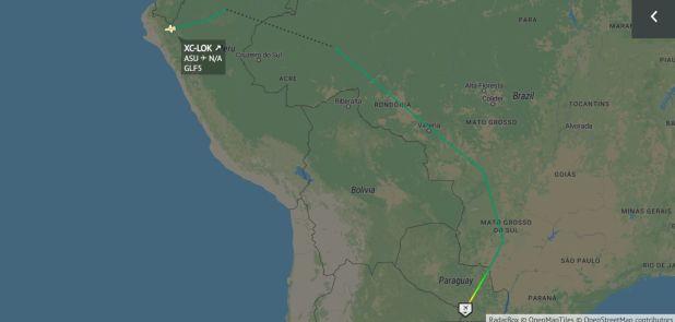 La ruta que tomó el avión de las Fuerzas Armadas de México para trasladar a Evo Morales (Foto: Radarbox)