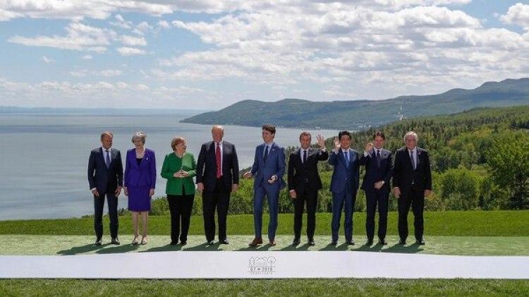 El cónsul europeo Donald Tusk, la primera ministra británica Theresa May, la canciller alemana Angela Merkel, el presidente estadounidense Donald Trump, el primer ministro candiense Justin Trudeau, el presidente francés Emmanuel Macron, el primer ministro japonés Shinzo Abe, el primer ministro italiano Giuseppe Conte y el presidente de la Comisión Europea Jean-Claude Juncker (Reuters)