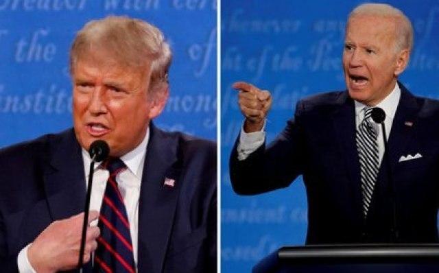 Una combinación de fotos muestra al presidente Donals Trump y al candidato demócrata Joe Biden durante el primer debate en la campaña para la Casa Blanca en las elecciones del 3 de noviembre, en Cleveland, EEUU, Septiembre 29, 2020. REUTERS/Brian Snyder