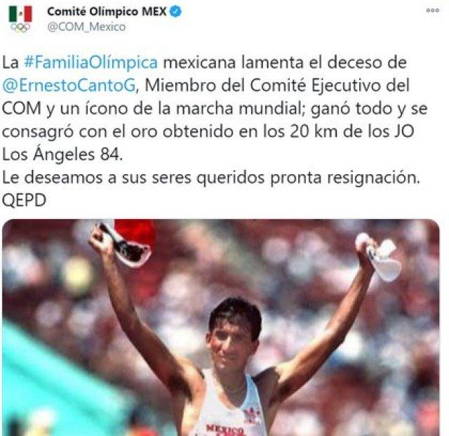 El anuncio del Comité Olímpico sobre la muerte de Ernesto Canto (Foto: Twitter@COM_Mexico)