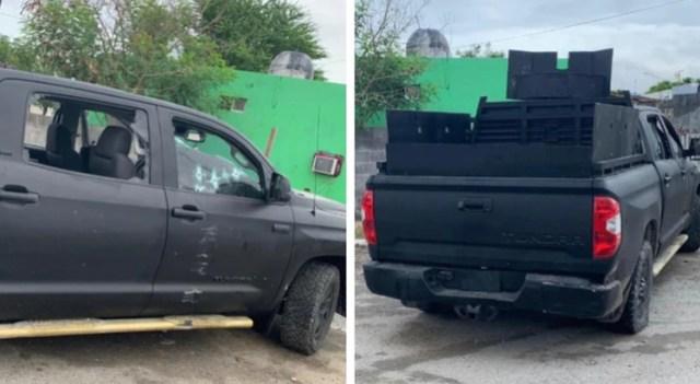 La camioneta pick up, que según elementos de la Policía Estatal, fue asegurada en el momento del abatimiento de los supuestos sicarios (Foto: Twitter)