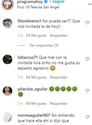 Más comentarios negativos en Instagram