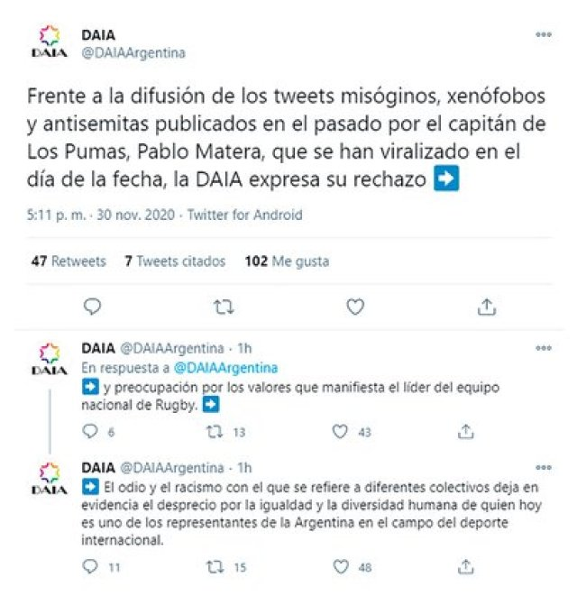Desde la Delegación de Asociaciones Israelitas Argentinas (DAIA) expresaron su repudio por los tuits de Pablo Matera.