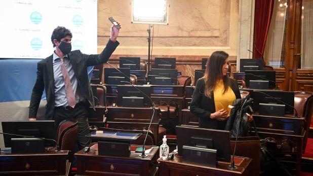 Sesión especial remota del Senado de la Nación donde se aprobo la prorroga de las Sesiones en modalidad telematica; en Buenos Aires, Argentina, el 16 de Septiembre de 2020