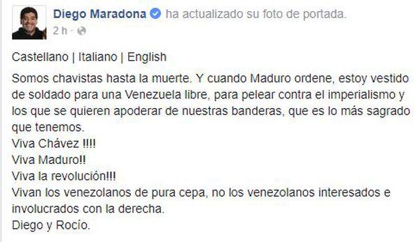 El texto de Maradona en apoyo a Maduro (Facebook)