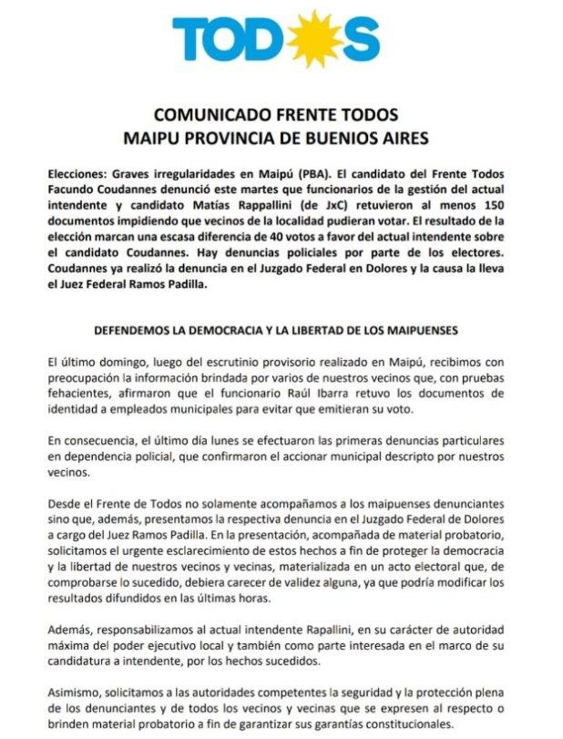 """Comunicado del Frente de Todos en el que denuncian que funcionarios municipales les """"retuvieron"""" el DNI a ciudadanos para """"impedirles votar"""" contra el actual intendente."""