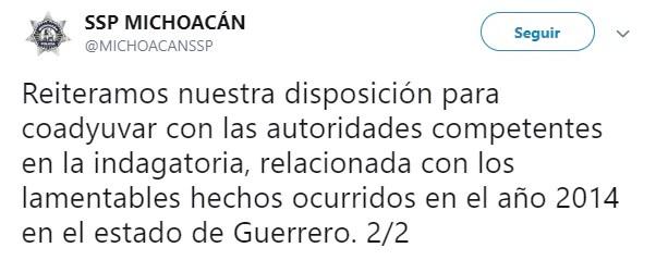 La Secretaría informó que Gómez Arrieta decidió separarse de su cargo a fin de facilitar las investigaciones que se deriven (Foto: Twitter @MICHOACANSSP)