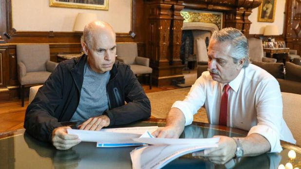 El presidente Alberto Fernández y el jefe de Gobierno porteño Horacio Rodríguez Larreta
