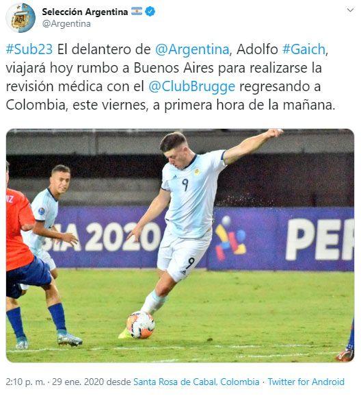 Adolfo Gaich se hará la revisión médica (Foto: @Argentina)