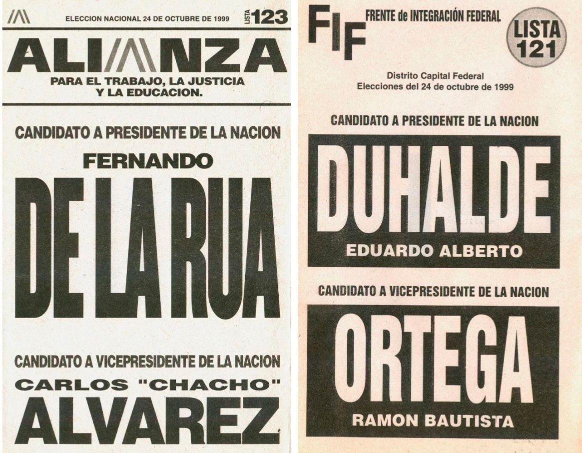 La competencia De la Rúa y Duhalde en la elección de 1999