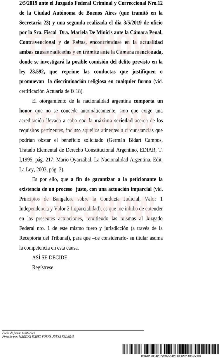 Segunda parte de la resolución de la juezafederal Martina Forns