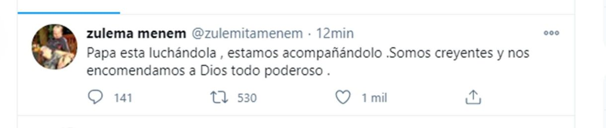 Zuleman menem tuit sobre el padre