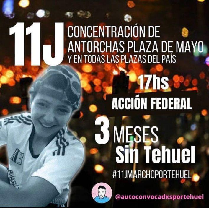 Aniversario: afiche online de la nueva movilización por Tehuel.