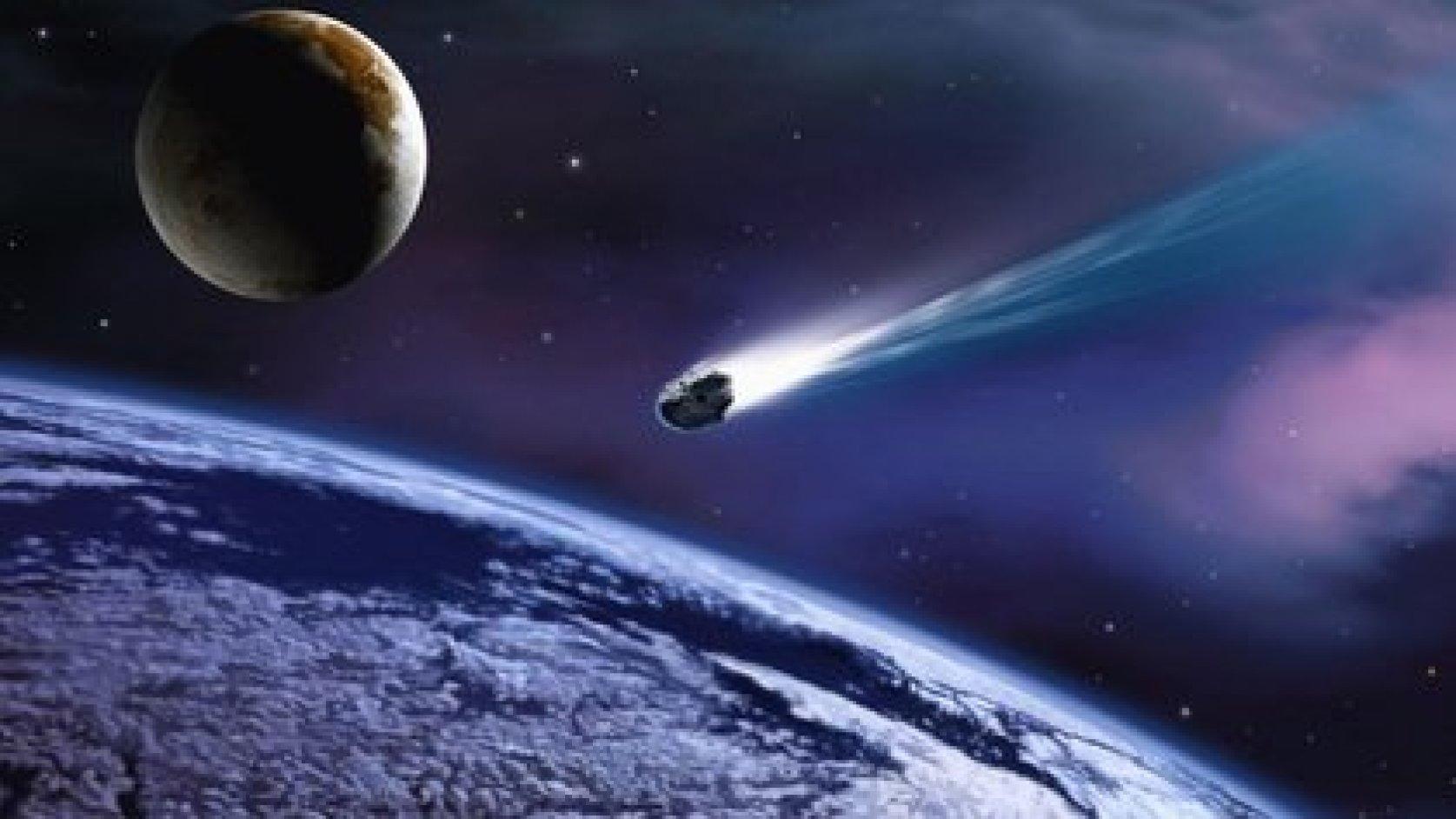 Asteroide pasando por La Tierra. Imagen de referencia