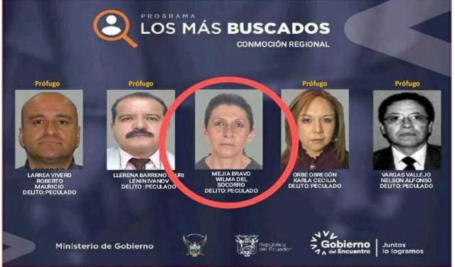 Wilma Mejía en el cartel de los más buscados de Ecuador. Foto: cortesía