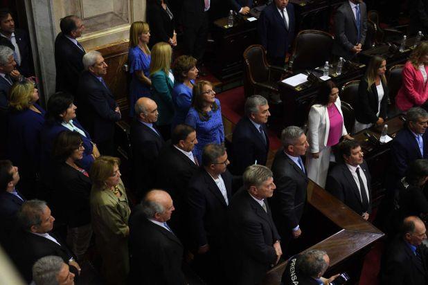 Los gobernadores siguieron el acto de jura desde uno de los palcos de la Cámara de Diputados