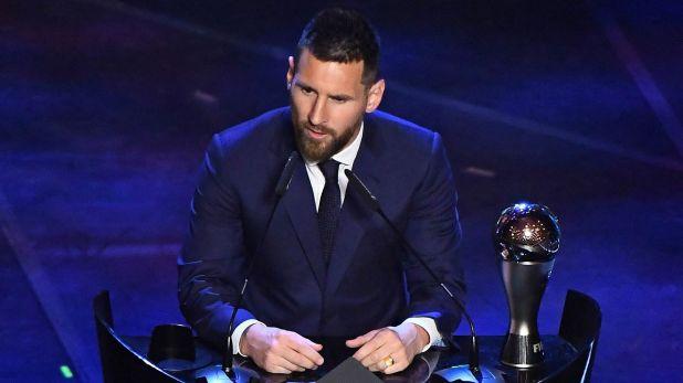 Messi, al momento de recibir el premio The Best en 2019 (Reuters)