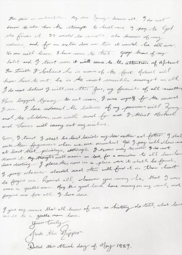 """El final del diario de James Maybrick, en el que firma como Jack """"el Destripador"""""""