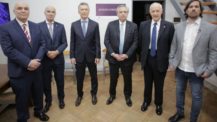 Los seis candidatos presidenciales en la previa del debate del domingo pasado (Prensa Lavagna)