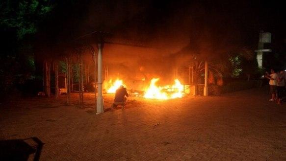 Imagen de archivo del atentado en el consulado estadounidense en Bengasi en 2012(AFP)