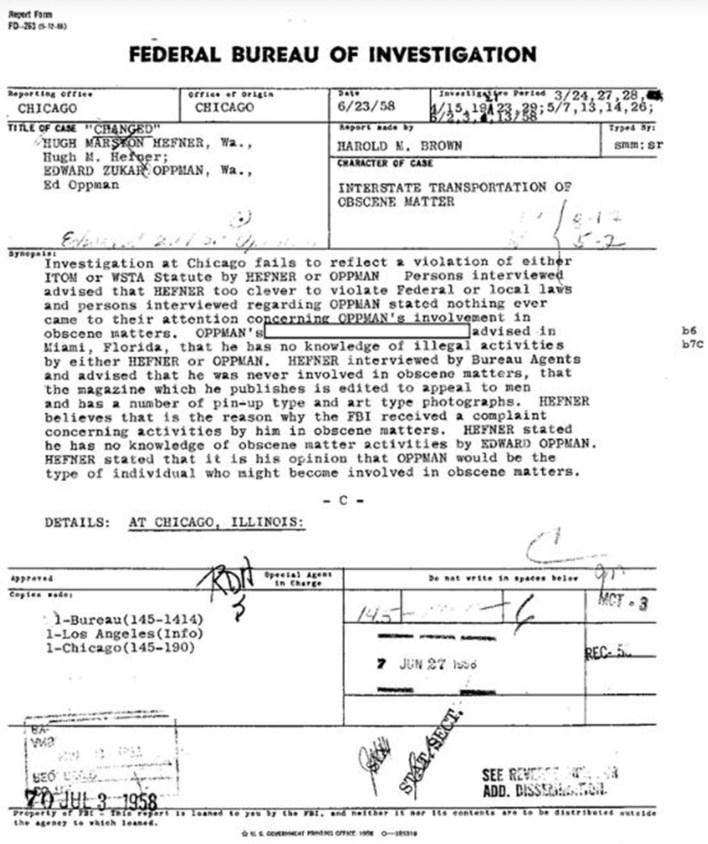 El FBI publicó su archivo sobre el ex fundador y editor en jefe de Playboy, Hugh Hefner, quien falleció en 2017