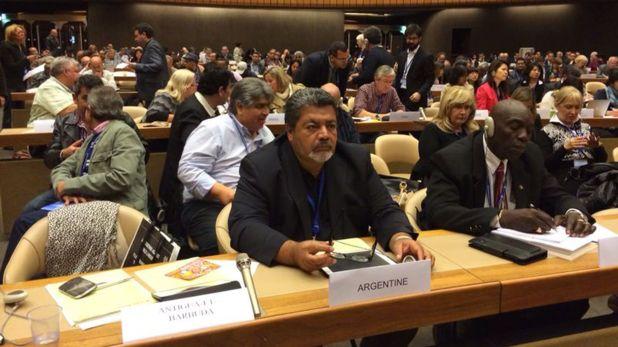 Gerardo Martínez, titular de la UOCRA, durante una reunión en la Organización Internacional del Trabajo (OIT)