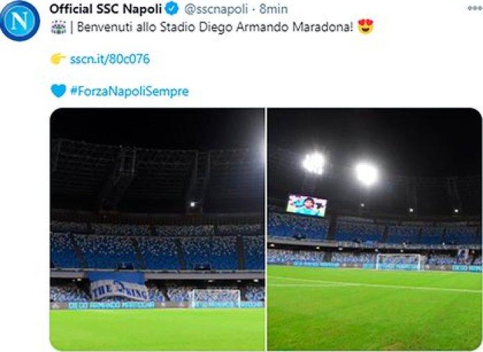 """""""Bienvenidos al estadio Diego Armando Maradona"""""""