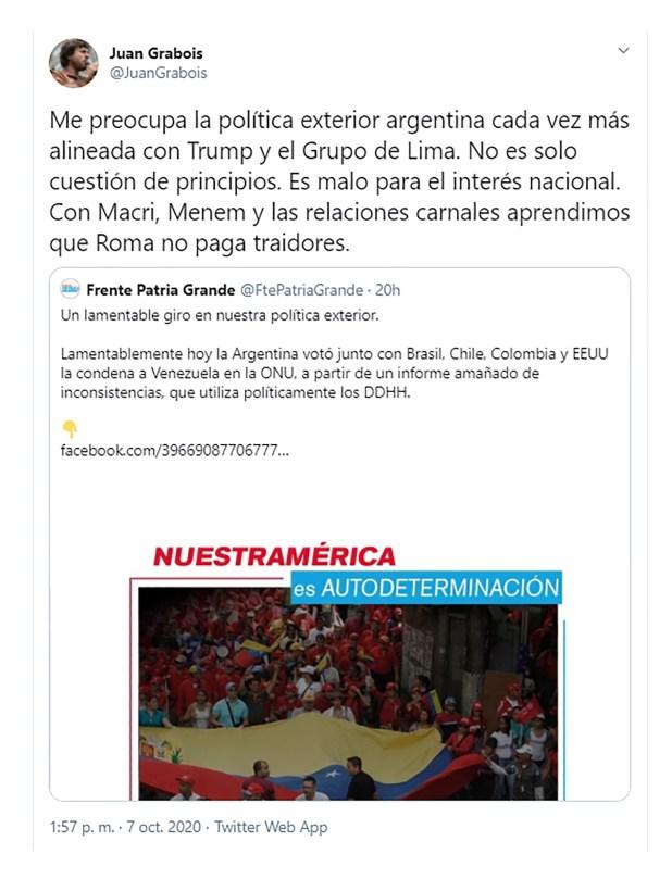 Tweet de Juan Grabois