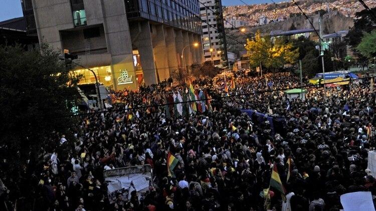 Manifestación opositora a Morales en La Paz (JORGE BERNAL / AFP)