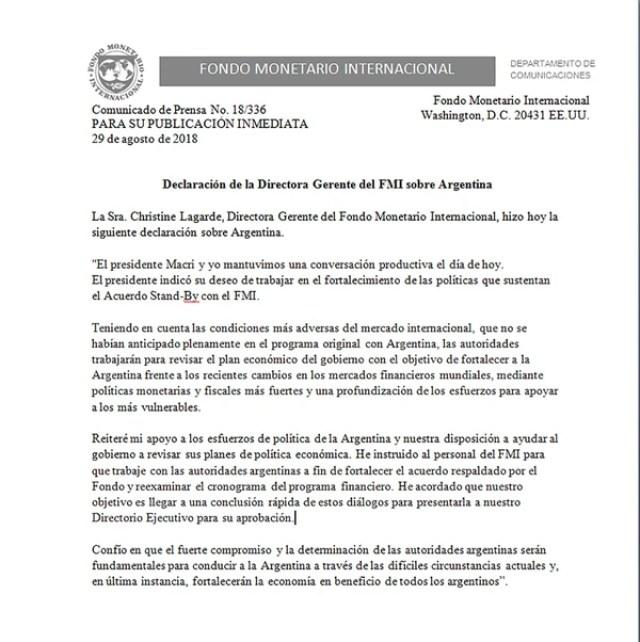 El comunicado de Lagarde de miércoles pasado