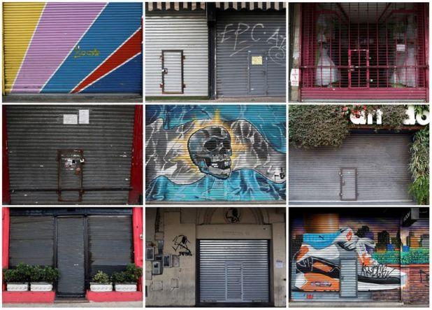 Una combinación de imágenes muestra una serie de pequeños negocios cerrados en Buenos Aires por las cuarentenas