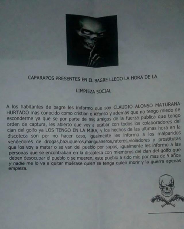 Panfleto de amenazas de Los Caparrapos contra la población civil.