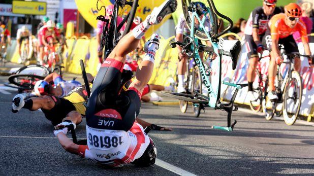 accidente en la línea de meta del Tour de Polonia