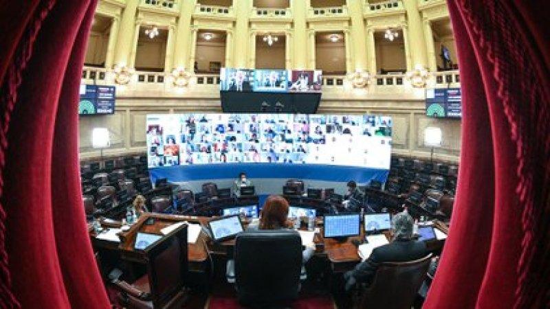 Cristina Kirchner, al frente de la sesión  virtual del Senado. La reforma judicial fue aprobada con muchos agregados.